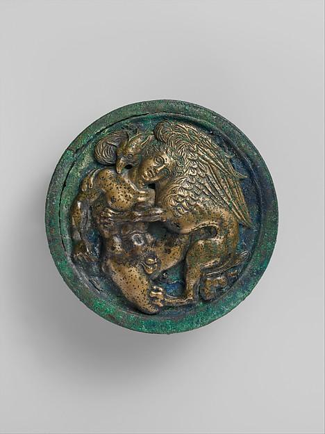 Bronze lid and upper part of an oil flask, Bronze, Praenestine