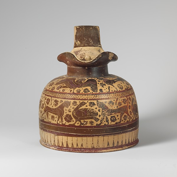 Terracotta oinochoe (jug) with lid, Attributed to the Canessa Painter, Terracotta, Greek, Corinthian