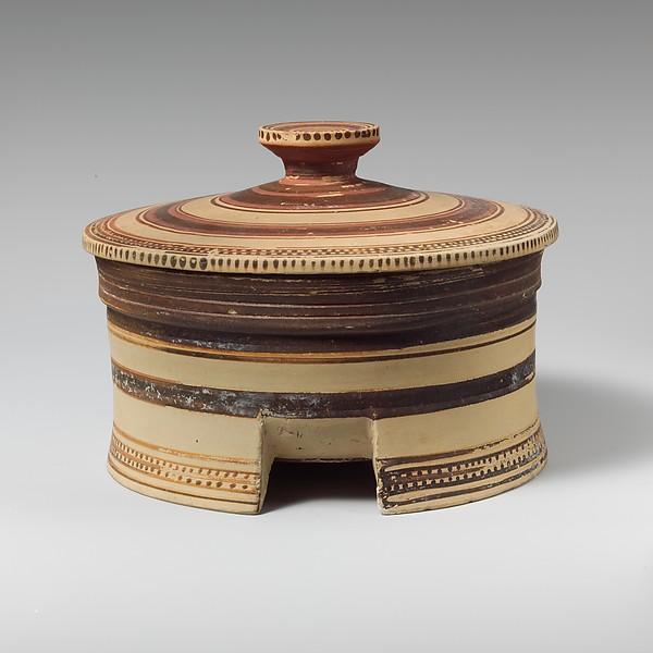 Terracotta tripod-pyxis (box), Terracotta, Greek, Corinthian