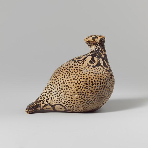 Terracotta vase in the form of a bird, Terracotta, Greek, Corinthian