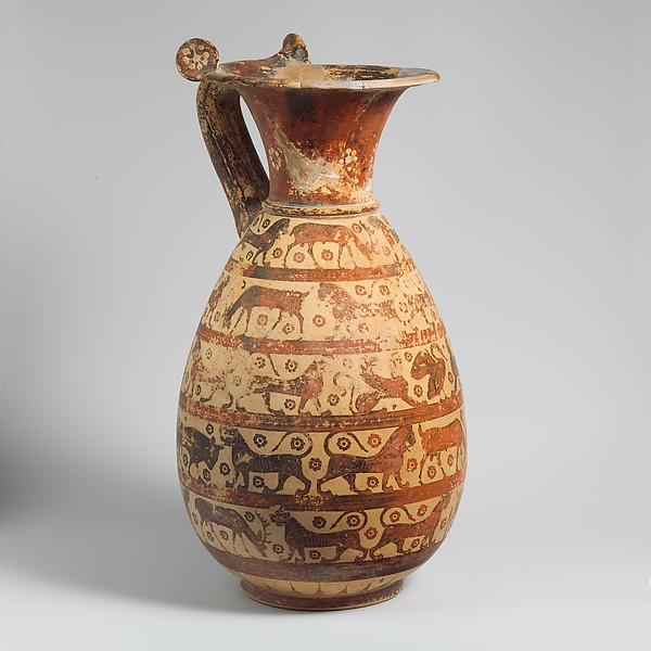 Terracotta oinochoe:olpe (jug), Attributed to the Sphinx Painter, Terracotta, Greek, Corinthian