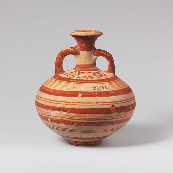 Terracotta globular flask, Terracotta, Mycenaean