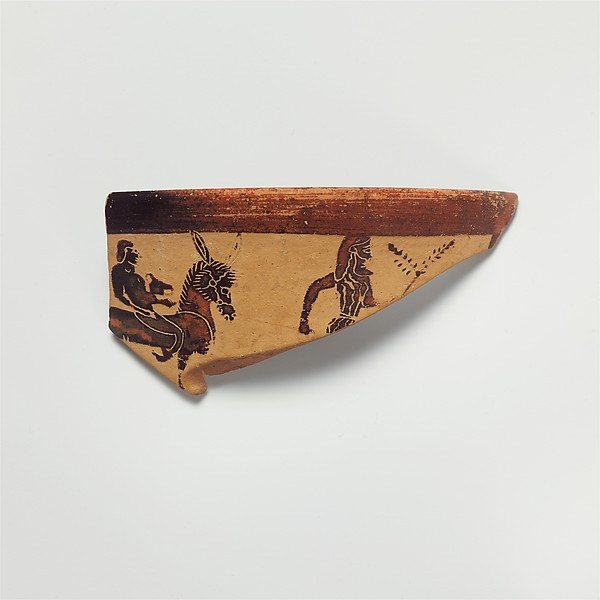 Fragment of a terracotta kantharos (drinking cup with high handles), Terracotta, Greek, Boeotian