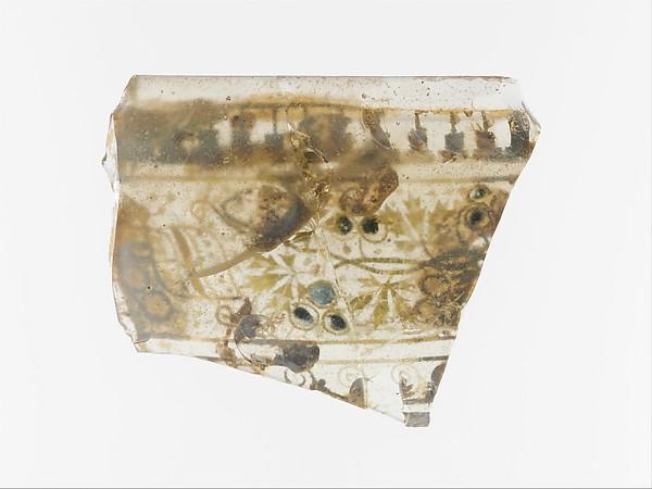 Gold-glass skyphos (drinking cup) fragment, Glass, Gold, Greek, Eastern Mediterranean
