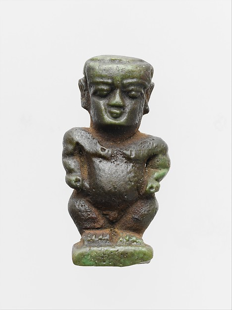 Faience amulet in the form of the dwarf god Pataikos, Clay, glazed, Egyptian