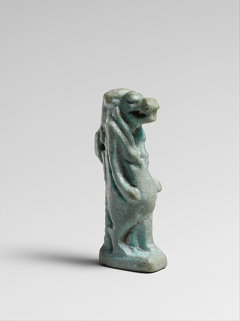 Faience amulet of Taweret, Clay, glazed, Egyptian