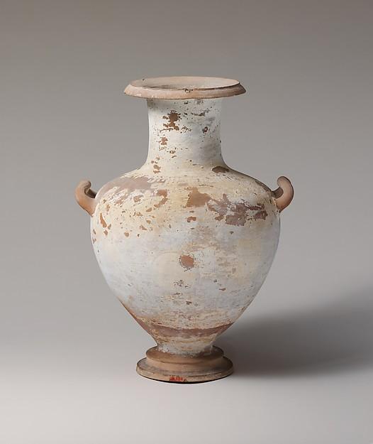 Terracotta Hadra hydria (water jar), Terracotta, Greek, Ptolemaic, Alexandria