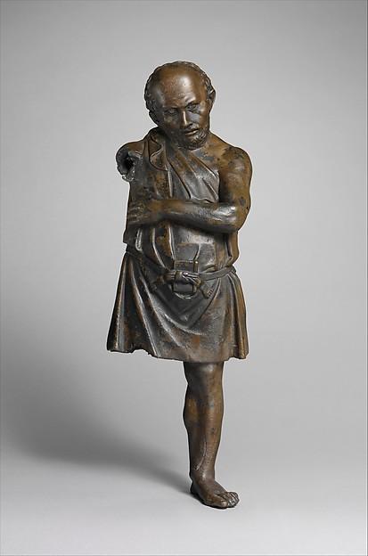 Bronze statuette of an artisan with silver eyes, Bronze, silver, Greek