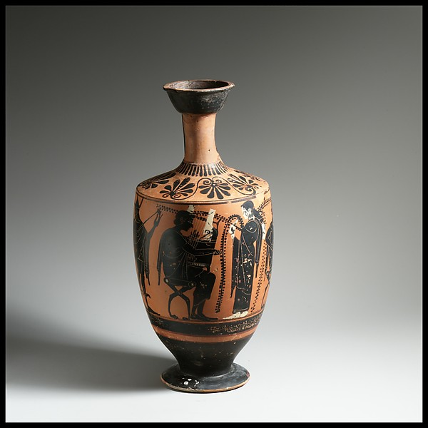 Lekythos, Attributed to the Leagros Group, Terracotta, Greek, Attic
