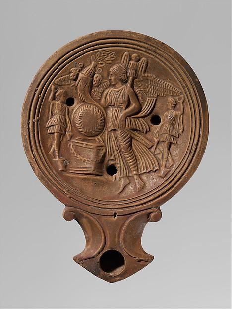 Terracotta oil lamp, Terracotta, Roman