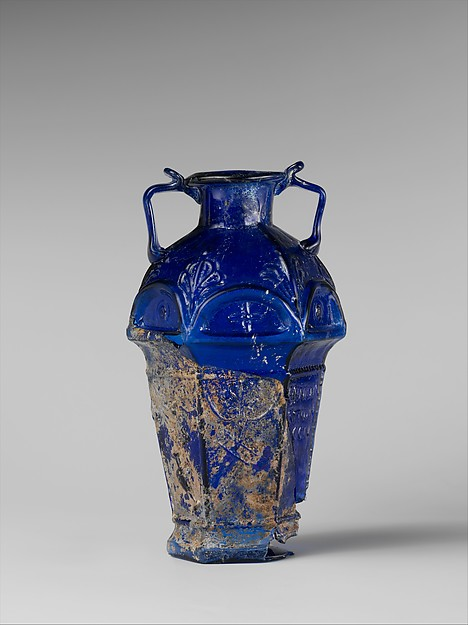 Glass hexagonal amphoriskos, Glass, Roman