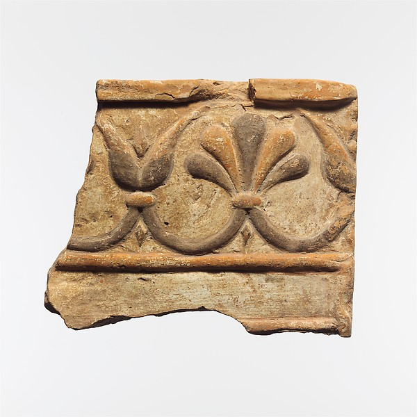 Fragment of a terracotta architectural tile, Terracotta, Lydian
