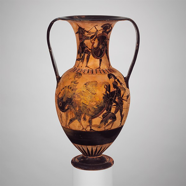 Terracotta neck-amphora of Nicosthenic shape (jar), Attributed to the Class of Cabinet des Médailles 218, Terracotta, Greek, Attic
