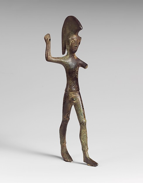 Bronze statuette of a striding warrior, Bronze, Etruscan or Umbrian