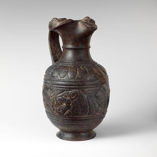 Terracotta oinochoe (jug), Terracotta, Etruscan