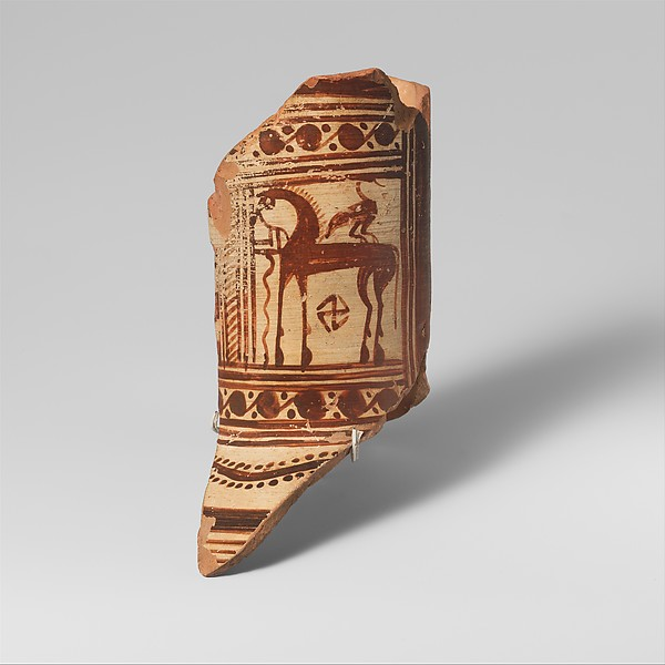 Fragment of a terracotta oinochoe (jug), Attributed to the Cesnola Painter, Terracotta, Greek, Euboean