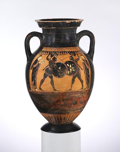 Terracotta amphora (jar), Terracotta, Greek, Attic