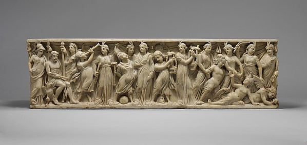 Marble sarcophagus with the contest between the Muses and the Sirens, Marble, Pentelic, Roman