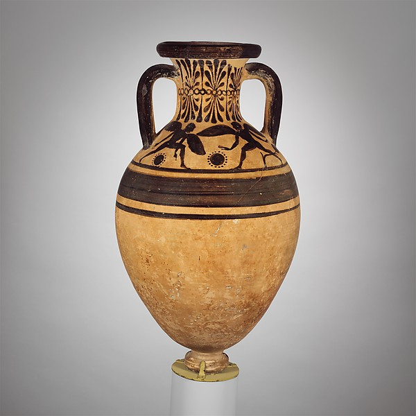Terracotta neck-amphora (jar), Attributed to the Group of New York GR 517, Terracotta, Etruscan