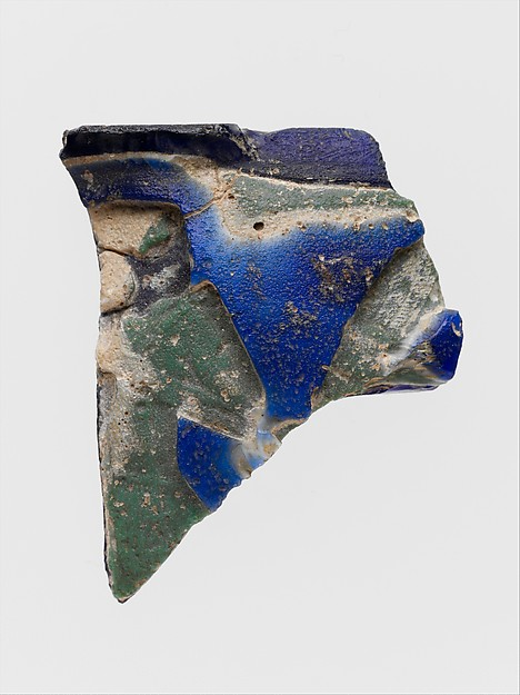Glass cameo cup fragment with incuse decoration, Glass, Roman