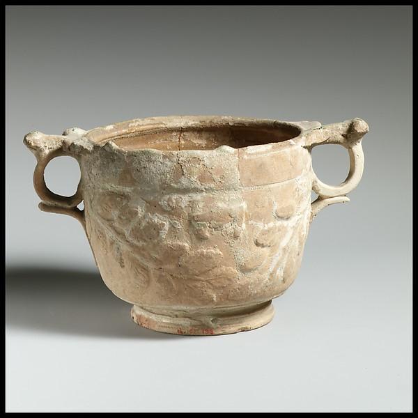 Terracotta lead-glazed skyphos, Terracotta, Roman