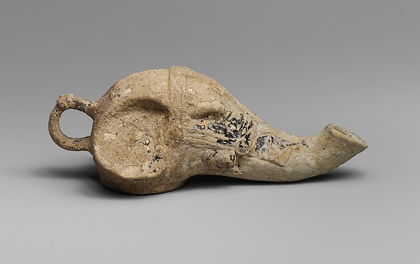 Terracotta lamp in the form of an elephant's head, Terracotta, Greek, Sicilian