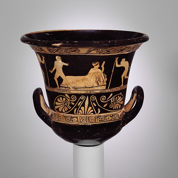 Terracotta calyx-krater (bowl for mixing wine and water), Terracotta, Greek, Attic