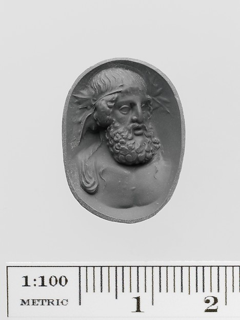 Amethyst ring stone with a bust of Dionysos, Amethyst, Roman