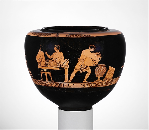 Terracotta dinos (deep round-bottomed bowl), Attributed to the Group of Vienna 4013, Terracotta, Greek, South Italian, Apulian