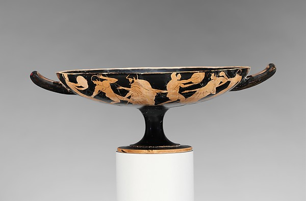 Terracotta kylix (drinking cup), Attributed to the manner of the Epeleios Painter, Terracotta, Greek, Attic