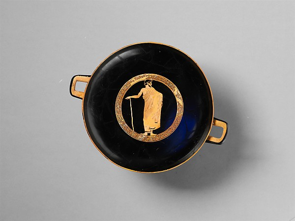 Terracotta kylix (drinking cup), Attributed to a follower of Makron, Terracotta, Greek, Attic