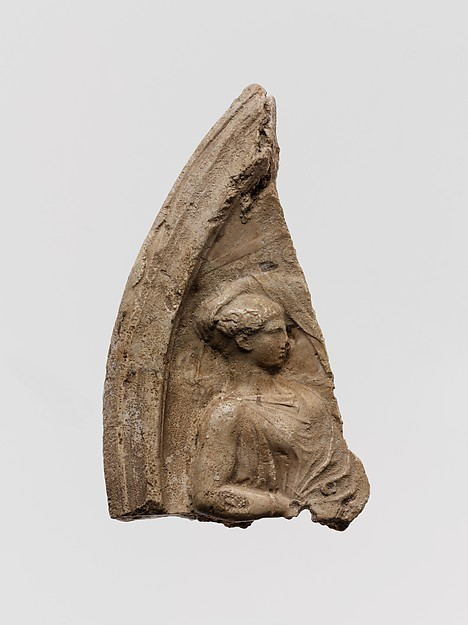 Plaster relief fragment with a male figure on a throne, Plaster, Roman