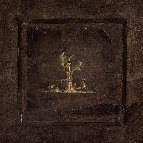 Wall painting on black ground: landscape, from the imperial villa at Boscotrecase, Fresco, Roman, Pompeian