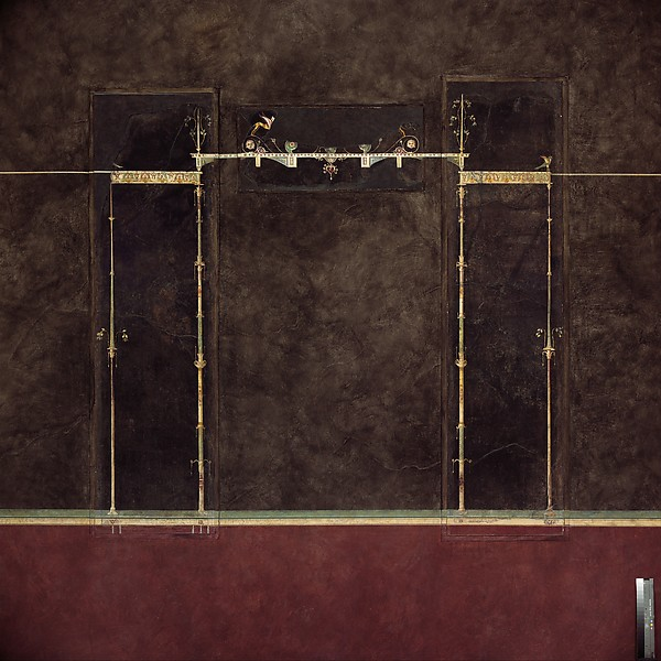 Wall painting on black ground: supports with entrablature, from the imperial villa at Boscotrecase, Fresco, Roman, Pompeian