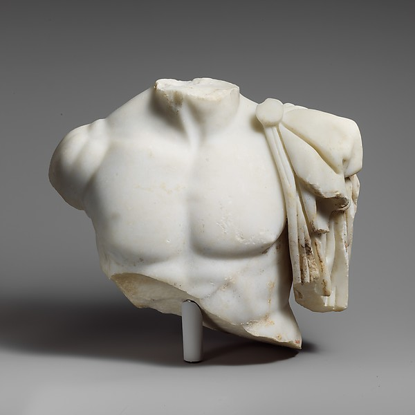 Upper part of a marble torso of a man, Marble, Island, Roman