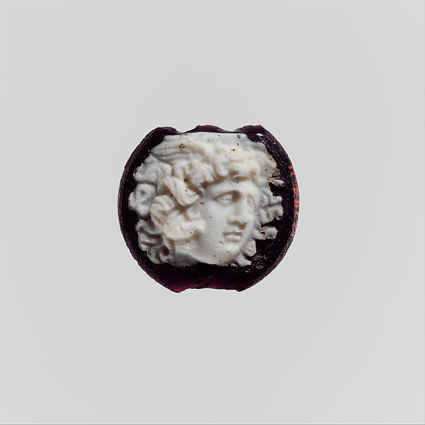 Cameo glass disk with Medusa head, Glass, Roman
