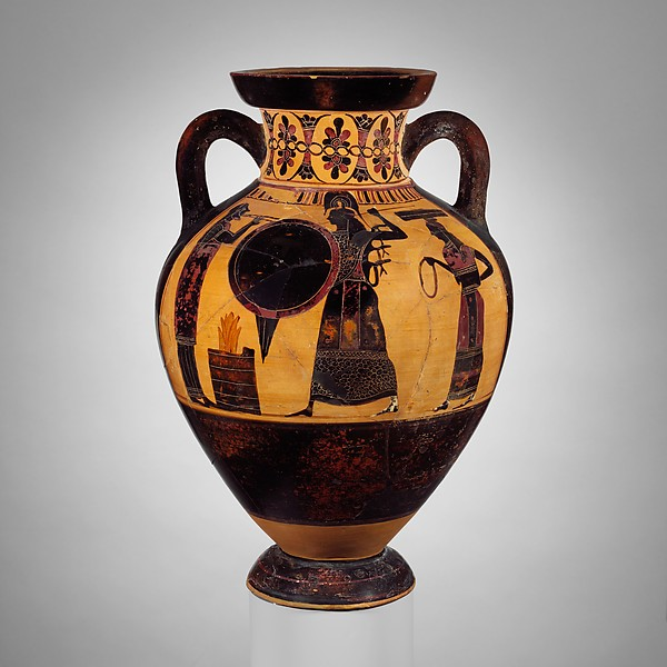 Terracotta neck-amphora of Panathenaic shape (jar), Attributed to the Princeton Painter, Terracotta, Greek, Attic