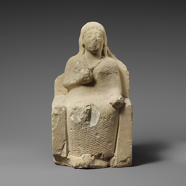 Limestone statuette of a seated female votary, Limestone, Cypriot