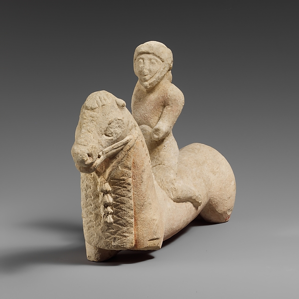 Limestone horse with a rider, Limestone, Cypriot
