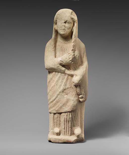 Limestone statuette of a female votary, Limestone, Cypriot