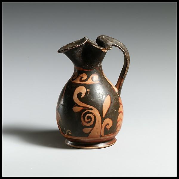 Terracotta oinochoe: chous (jug), Attributed to the Heavy Chin Group, Terracotta, Greek, South Italian, Paestan