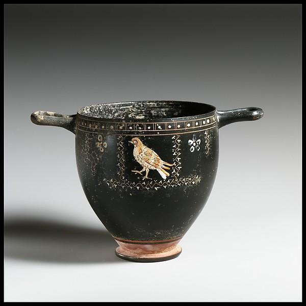 Terracotta skyphos (deep drinking cup), Terracotta, Greek, South Italian, Apulian, Gnathian
