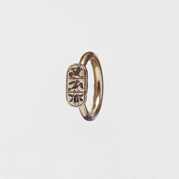 Silver gilt ring, Gold, silver, Etruscan