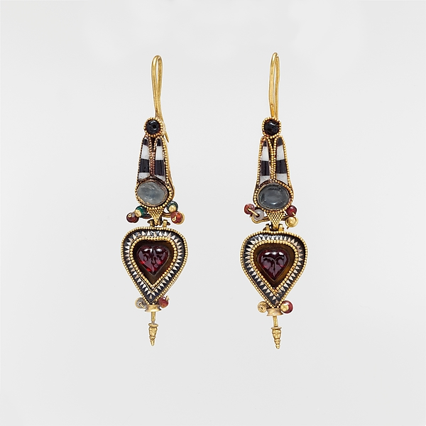 Pair of gold earrings with an Egyptian Atef crown set with stones and glass, Gold with stone and glass, Greek