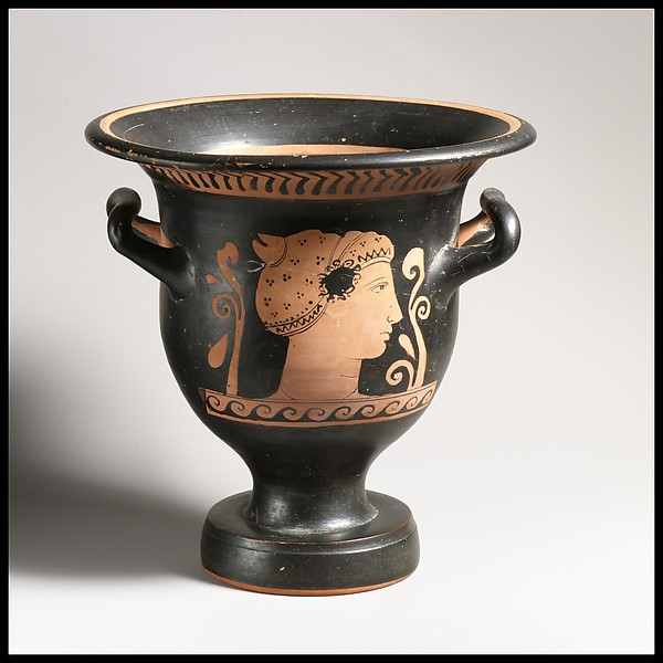 Terracotta bell-krater (bowl for mixing wine and water), Attributed to the Chevron Group, Archidamos Sub-Group, Terracotta, Greek, South Italian, Apulian