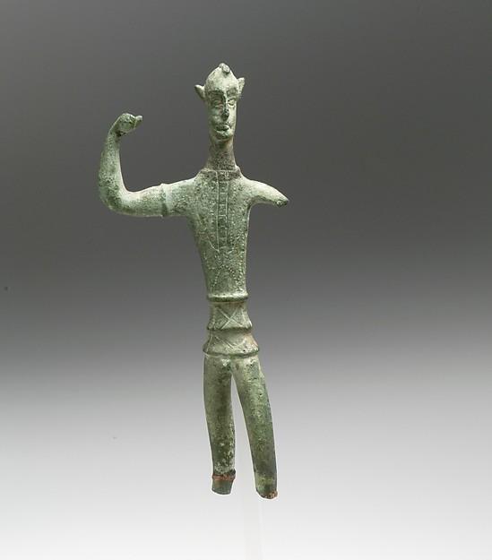 Bronze statuette of a warrior, Bronze, Etruscan or Italic