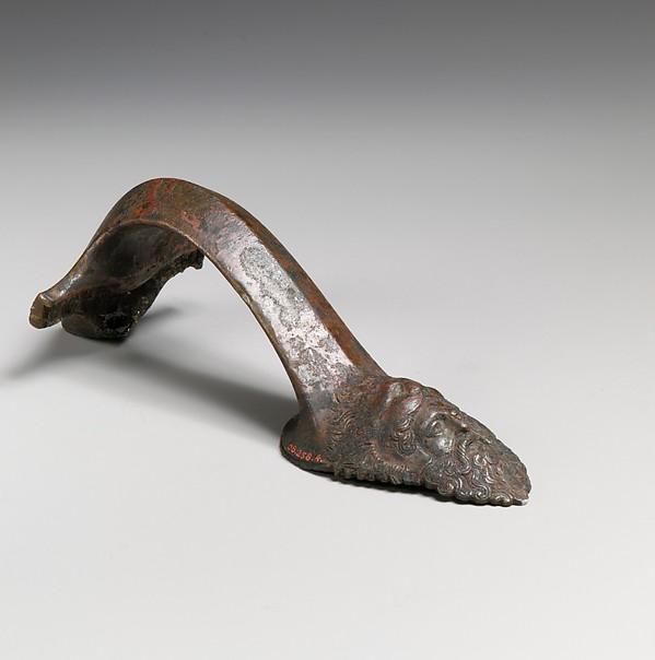 Bronze handle of an oinochoe (jug), Bronze, Greek