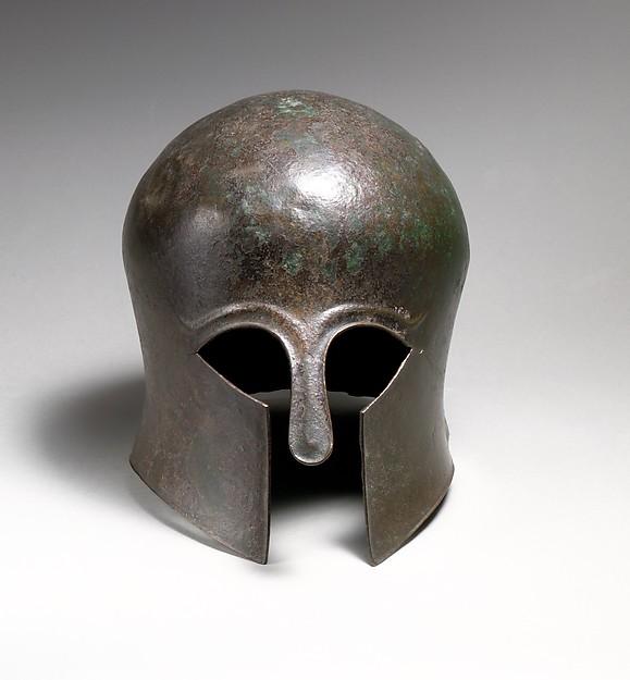 Bronze helmet of the Corinthian type, Bronze, Greek