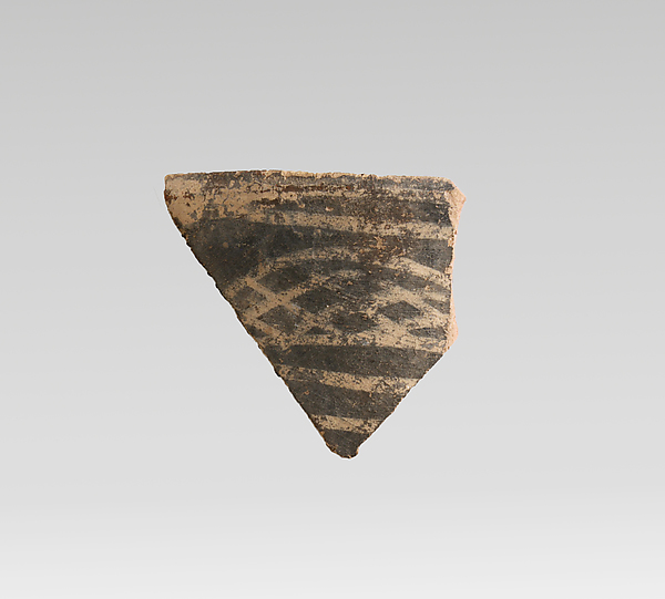 Terracotta rim fragment with cross-hatching and bands, Terracotta, Minoan
