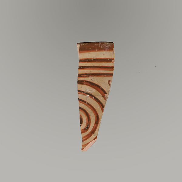 Terracotta rim and upper body fragment with concentric circles (or spiral?) and bands, Terracotta, Minoan